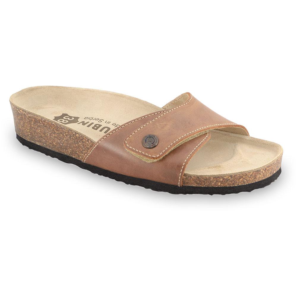 MADRID kožené dámské pantofle (36-42) - světlehnědá, 42