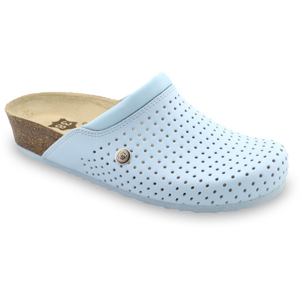 BEOGRAD kožené dámské uzavřené papuče (36-42) - bleděmodrá, 36