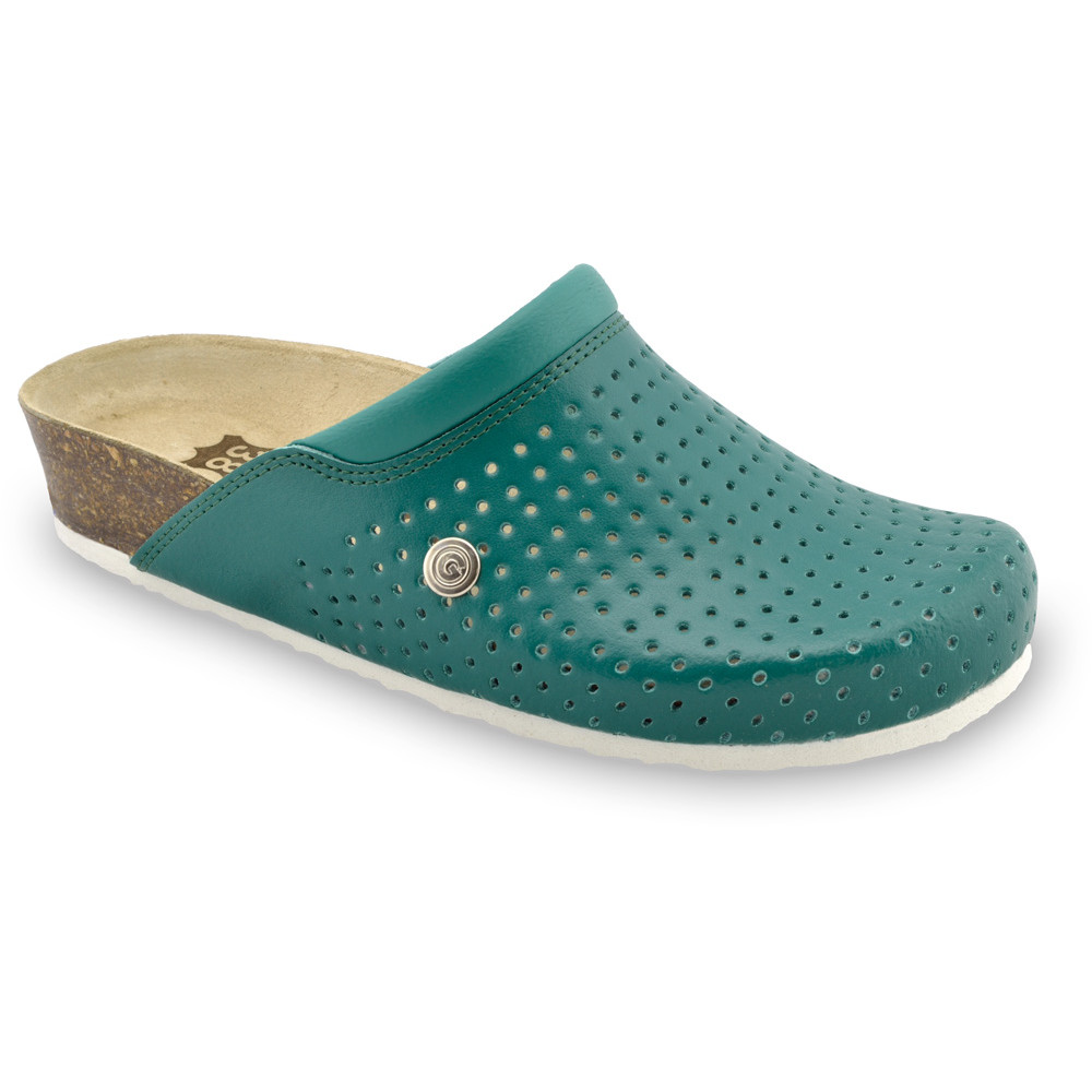 BEOGRAD kožené dámské uzavřené papuče (36-42) - zelená, 41