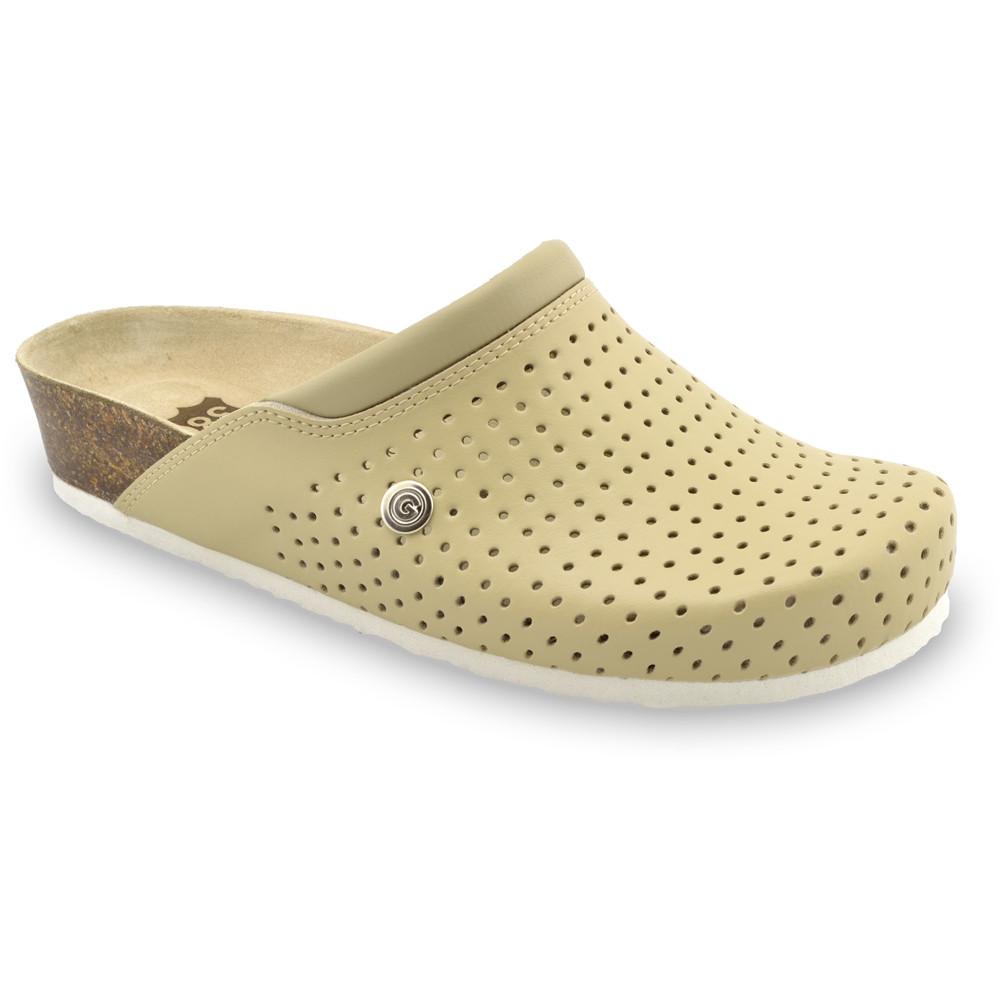 BEOGRAD kožené dámské uzavřené papuče (36-42) - béžová, 37