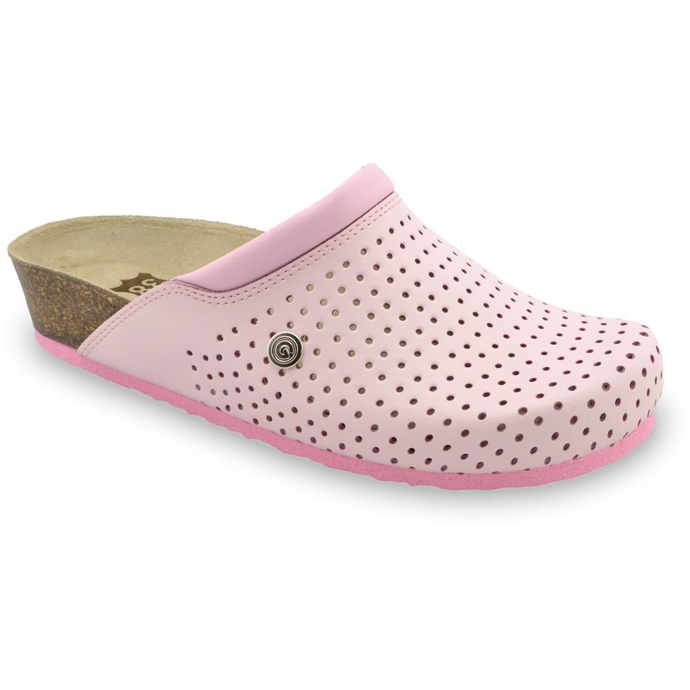 BEOGRAD kožené dámské uzavřené papuče (36-42) - ružová, 36