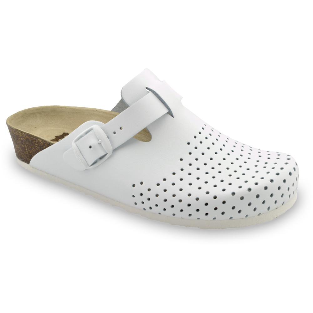 BEOGRAD kožené dámské uzavřené papuče (36-42) - bílá, 39