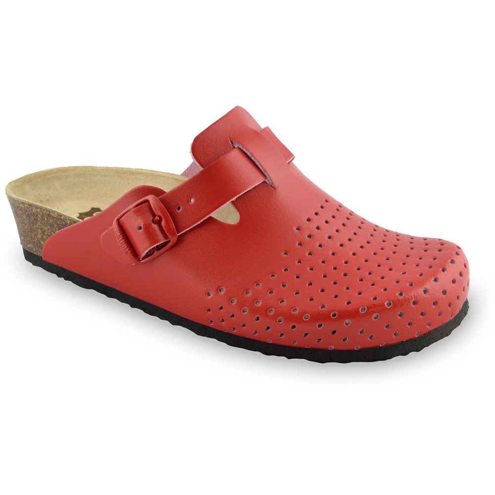 BEOGRAD kožené dámské uzavřené papuče (36-42) - červená, 37