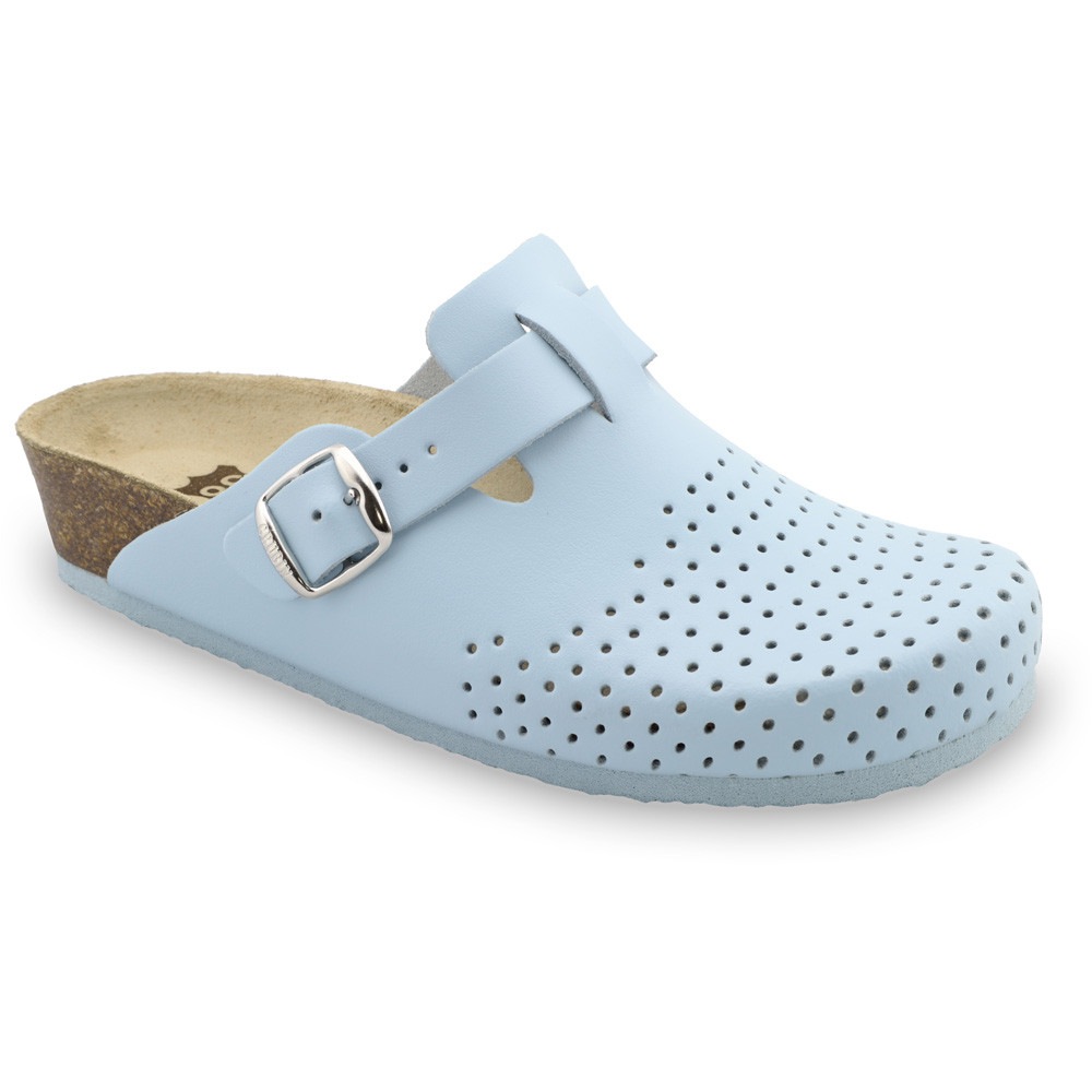 BEOGRAD kožené dámské uzavřené papuče (36-42) - bleděmodrá, 39