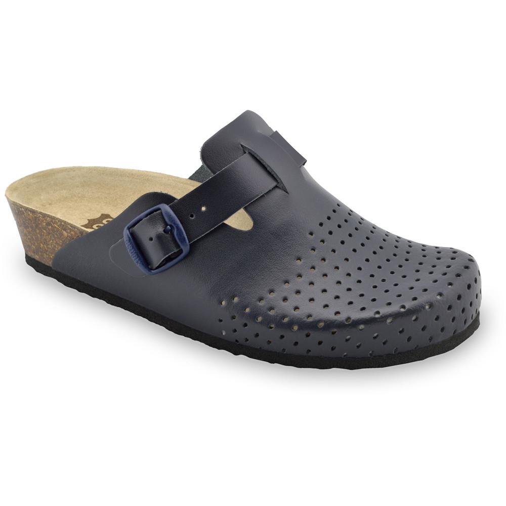 BEOGRAD kožené dámské uzavřené papuče (36-42) - modrámat, 36