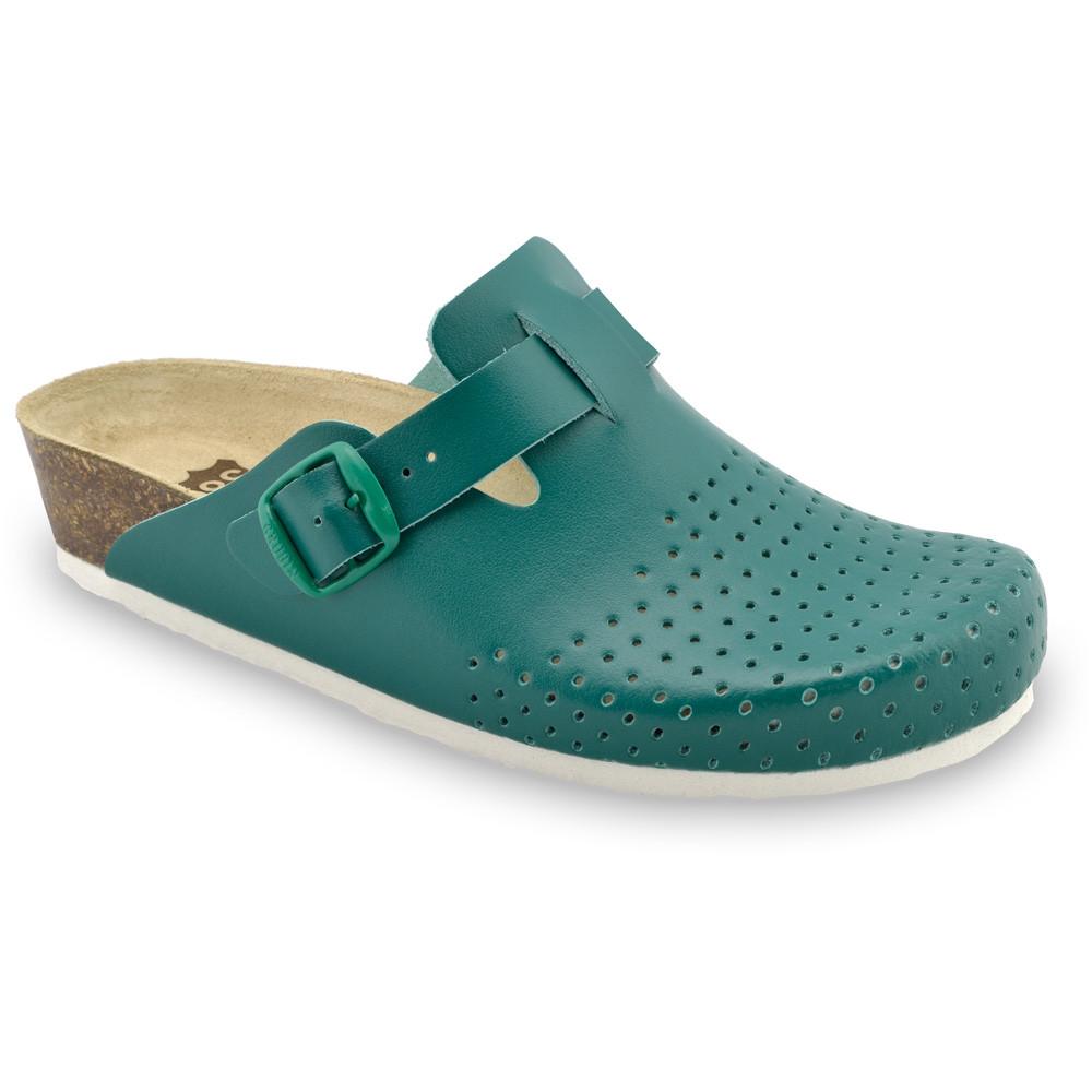 BEOGRAD kožené dámské uzavřené papuče (36-42) - zelená, 37