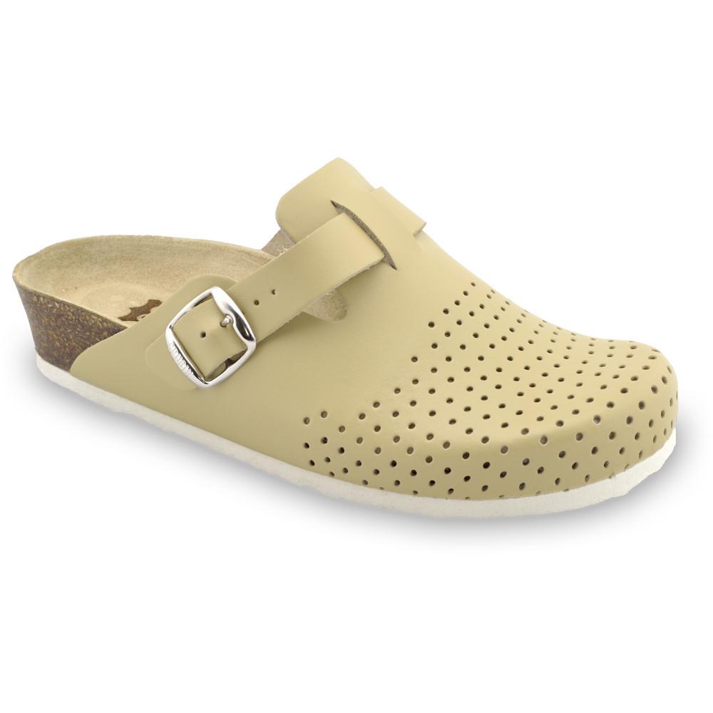 BEOGRAD kožené dámské uzavřené papuče (36-42) - béžová, 36