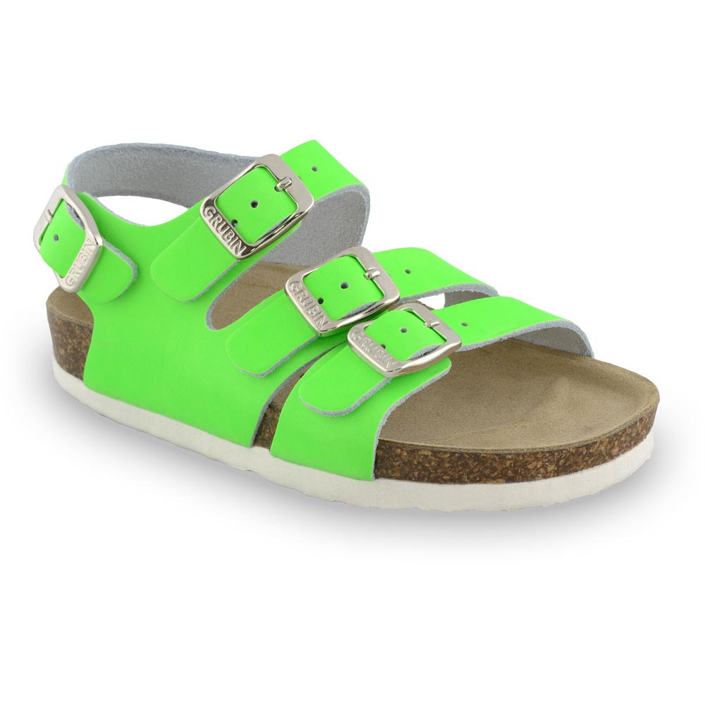 CAMBERA kožené dětské sandály (23-29) - zelenásignálni, 25