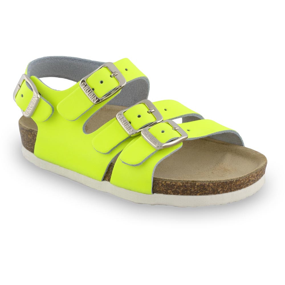 CAMBERA kožené dětské sandály (23-29) - žlutásignální, 23