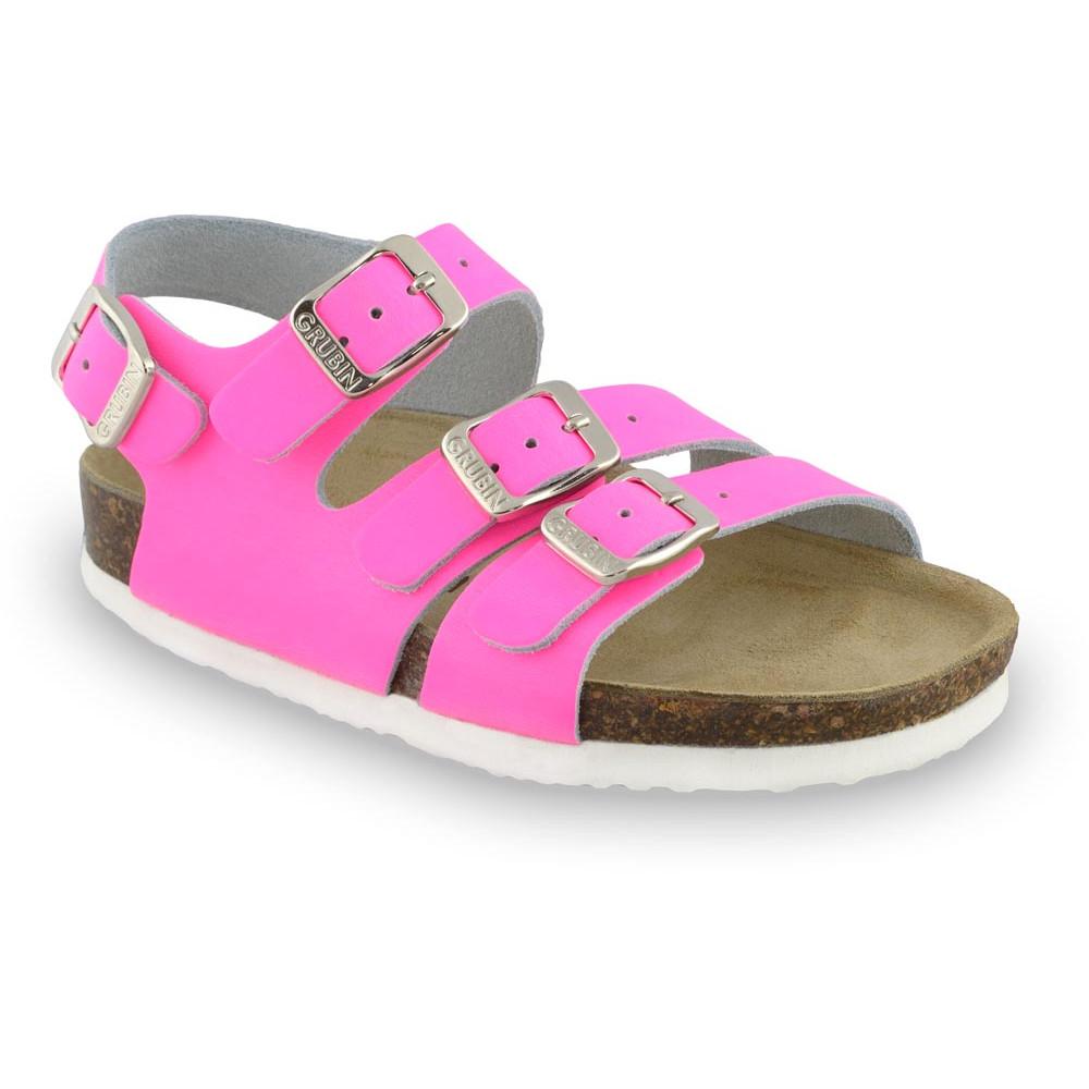 CAMBERA kožené dětské sandály (23-29) - růžovásignální, 23