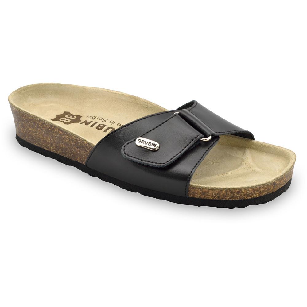 BRIGITTE kožené dámské pantofle (36-42) - černá, 38
