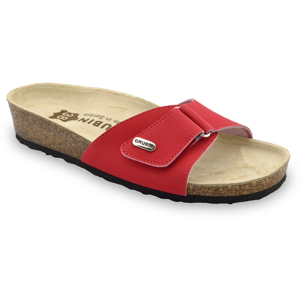 BRIGITTE kožené dámské pantofle (36-42) - červená, 37