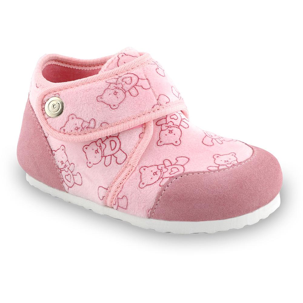 KINDER domácí zimní obuv pro děti - plyš (23-35) - ružová, 26