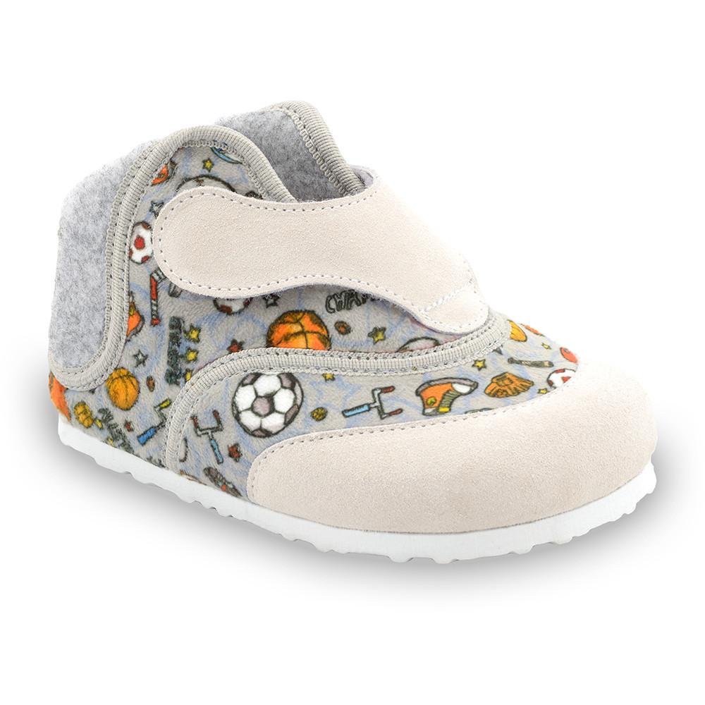 HEART domácí zimní obuv pro děti - plyš (23-30) - šedá, 23