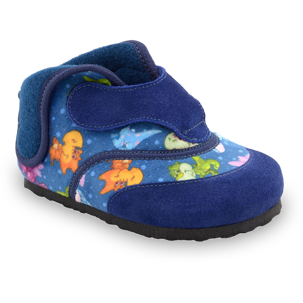 HEART domácí zimní obuv pro děti - plyš (23-30) - modrá, 29