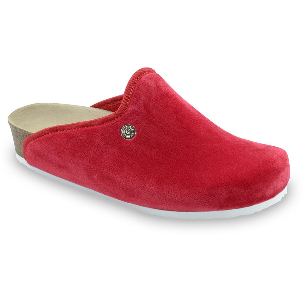 CAKI domácí zimní obuv pro dámy - plyš (36-42) - červená, 37