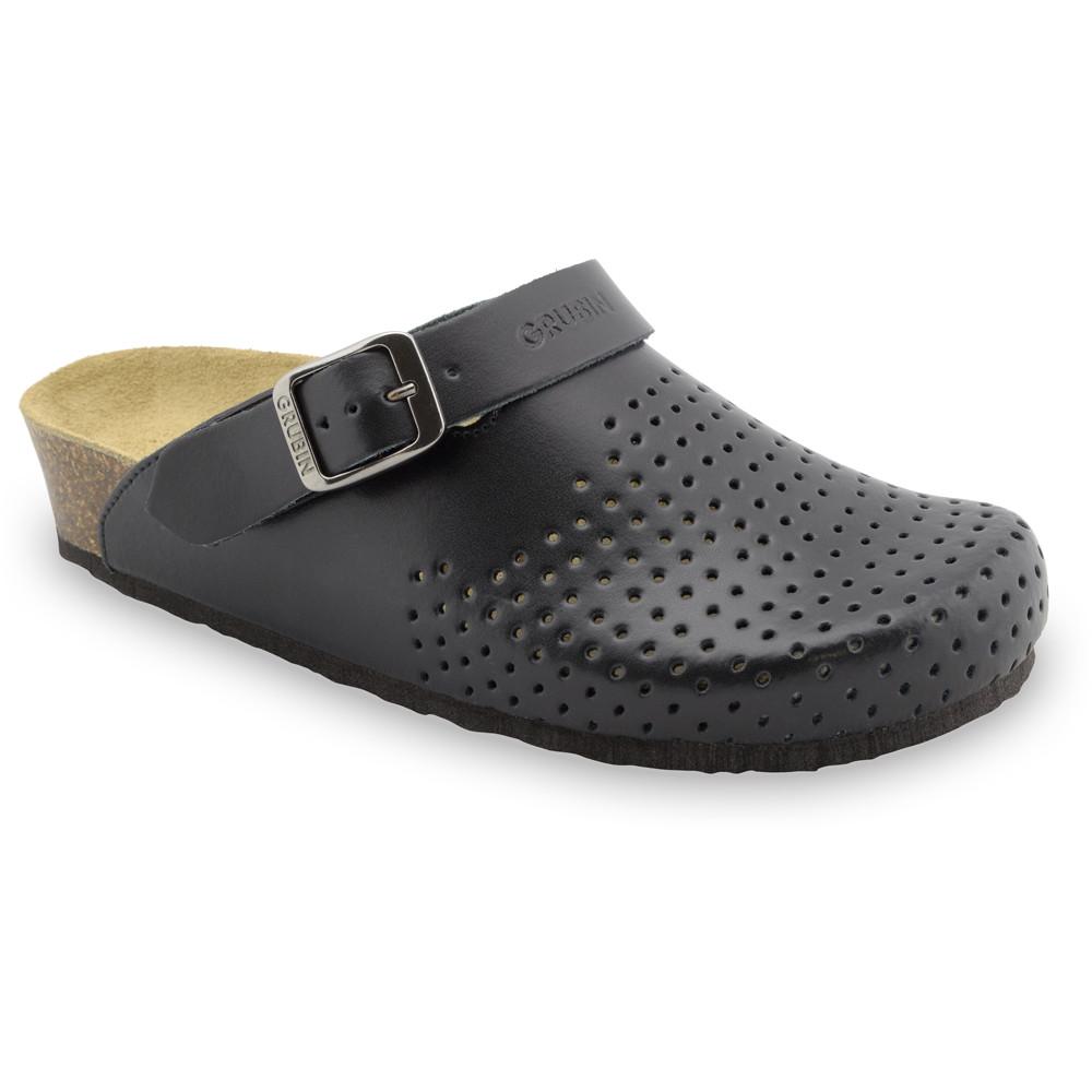 STOCKHOLM kožené dámské uzavřené papuče (36-42) - černá, 38