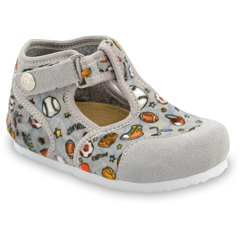 CORONA domácí zimní obuv pro děti - tkanina (23-35) - šedá, 29