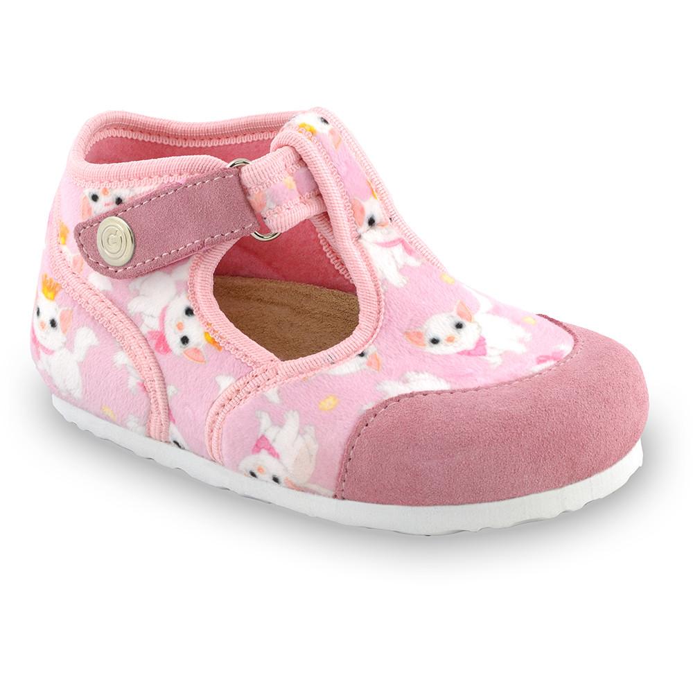 CORONA domácí zimní obuv pro děti - tkanina (23-35) - světlerůžová, 24
