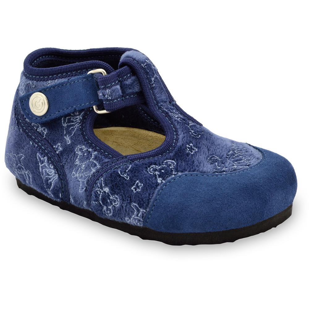 CORONA domácí zimní obuv pro děti - plsť (23-35) - modrá, 33