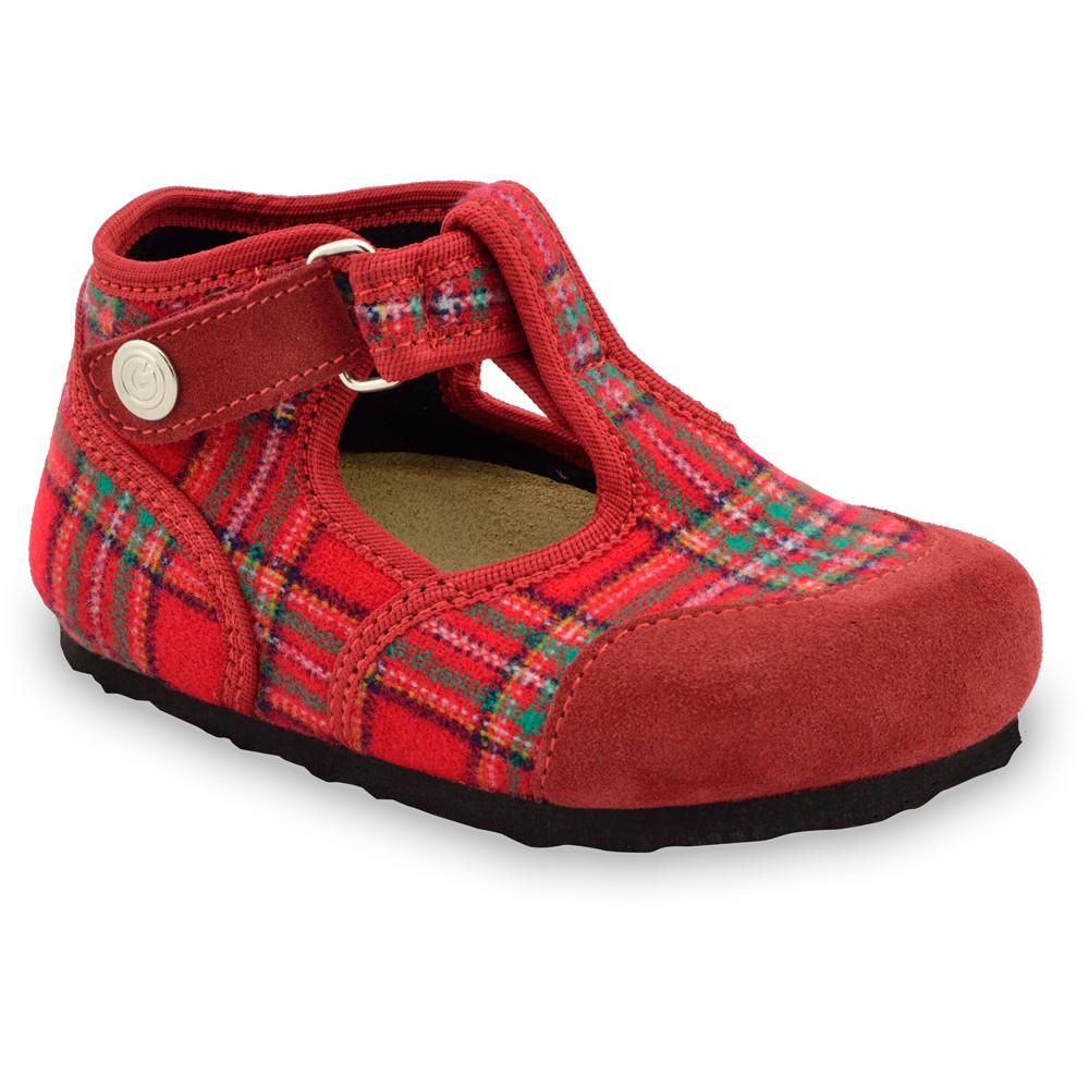 CORONA domácí zimní obuv pro děti - plsť (23-35) - červená, 34