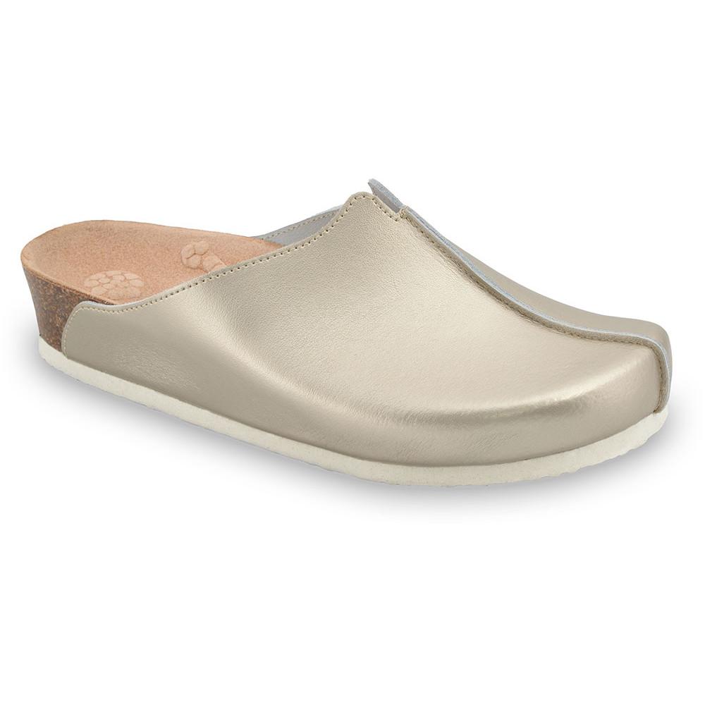 TRISTAN kožené dámské uzavřené papuče (37-41) - zlatá, 38