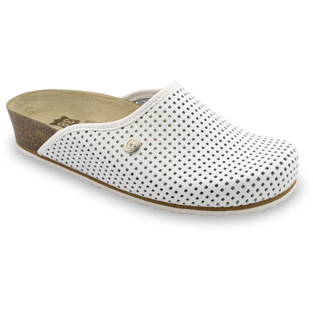 TERRA kožené dámské uzavřené papuče (36-42) - bílá, 37
