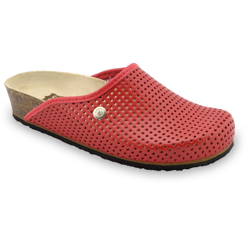 TERRA kožené dámské uzavřené papuče (36-42) - červená, 42