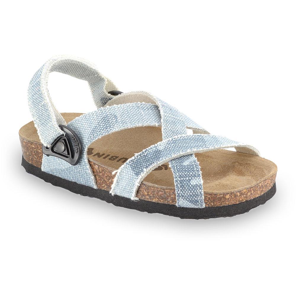 PITAGORA sandály pro děti - tkanina (23-29) - modrosivá, 26