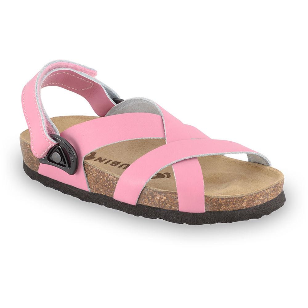 PITAGORA sandály pro děti - kůže nubuk-kast (23-29) - ružová, 28