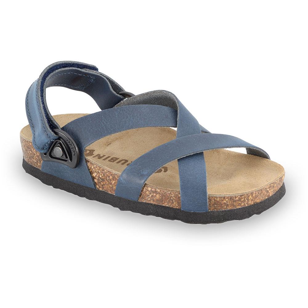 PITAGORA sandály pro děti - kůže nubuk-kast (30-35) - modrá, 32
